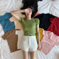 Kaos Polos T-Shirt Wanita Korea Style | Atasan Wanita Lengan Pendek - Maroon