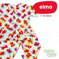 Setelan Baju Tidur Piyama Anak Tanpa Kerah Motif Elmo