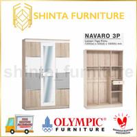 Olympic Lemari Pakaian Navaro 3 pintu Lemari Baju Minimalis Modern