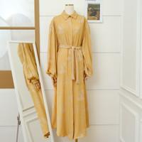 Gamis Moonlife Mustard Jacquard Premium all size / Baju Muslim