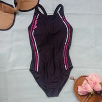 Preloved / thrift baju renang hitam list pink swimsuit branded