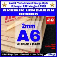 AKRILIK lembaran 2mm uk. A6 / Akrilik bening / Marga cipta / Arcylic