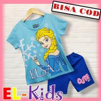 Baju anak perempuan/setelan anak perempuan, D&C, Elsa Frozen, Disney