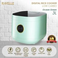 Rice Cooker Ravelle Ocean Green 3L - Digital Low Carbo Rice Cooker