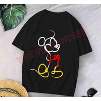 Kaos Wanita Oversized Jumbo Longgar Mickey Siluet Black Red