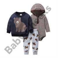 Baby sweater set bayi baju musim dingin bayi premium - 3-6 Bulan