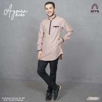 gamis baju kemeja pakaian koko muslim pria remaja exclusive premium - Cokelat, S