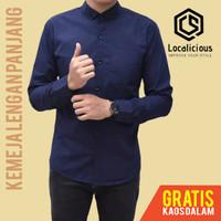 Kemeja Pria Lengan Panjang Polos Formal Baju Hem Cowok Kantor Kerja - Navy, L