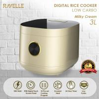 Rice Cooker Ravelle Milky Cream 3Liter - Digital Low Carbo Rice Cooker