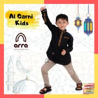 Baju Koko Ayah dan Anak Couple Al Qarni Anak-Anak Lengan Panjang - Hitam, S