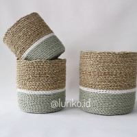 Cover Pot Anyaman isi 3 pcs/Keranjang Anyaman/Seagrass-Plastik/LW06-K