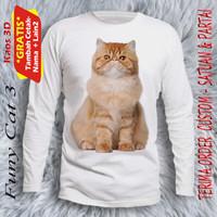 Baju gambar kucing Funy Cat 3 lengan panjang dewas unisex - S, Putih