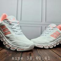 sepatu casual wanita adidas marathon abu pink import grade ori