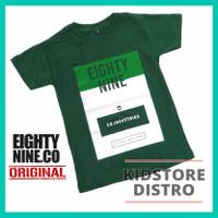 Baju / Kaos Distro Anak Laki-Laki / Motif Eighty Nine / Eighty Nine - HIJAU ARMY, S