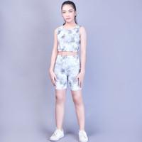 1 set short pant + crop top pakaian olah raga senam fitness wanita - Motif 1, L