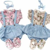 Baju Bayi Perempuan Setelan Anak Free Bando dan Sepatu