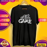 T Shirt Kaos Distro Pria Wanita Eat Sleep Game Quality Eksport Premium