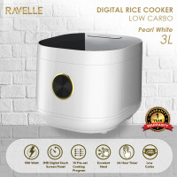 Rice Cooker Ravelle Pearl White 3L - Smart Digital Low Carbo Low Sugar
