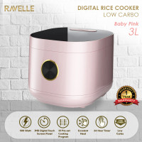 Rice Cooker Ravelle Baby Pink 3 Liter - Digital Low Carbo Rice Cooker
