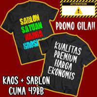 Cetak Sablon Kaos DTF Custom Satuan Grosiran Cotton Combed 30s Premium