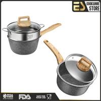 ES Set Panci Susu + Steamer + TUTUP 16 cm Panci Keramik Serbaguna - no steamer