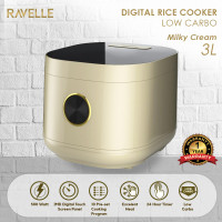 Rice Cooker Ravelle Milky Cream 3L - Digital Low Carbo Rice Cooker