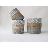 Cover Pot Anyaman isi 3 pcs/Keranjang Anyaman/Seagrass-Plastik/LW06-J