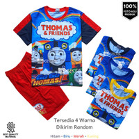 Baju Setelan Anak THOMAS AND FRIENDS FULLPRINT Setelan Kaos Anak Murah