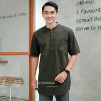 Baju Kurta Pria Lengan Pendek - Baju Koko Pria Fashion Muslim Nyfr3 - Army, M