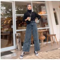 ASEA Highwaist Loose Jeans Snow - Celana Kulot Jeans Tebal