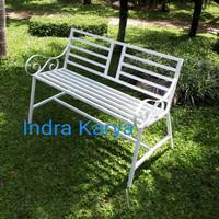 Kursi teras / kursi taman bahan besi harga murah - Putih, 100 cm