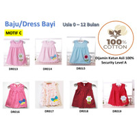 Baju/Dress bayi Perempuan 0-6 Bulan Katun 100% Import Motif C