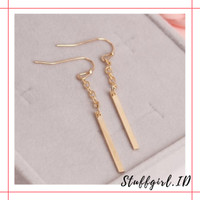 Anting Gantung FA19 Rantai Panjang Warna Gold 5.3cm untuk Wanita