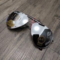 Kacamata Rayban Aviator Gading RB3029 / Sunglasses Outdoor Pria Wanita - Full Silver