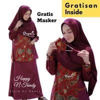 Baju Muslim Gamis Batik Wanita Premium Modern Two Piece Polos Maroon - XS