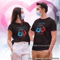 Kaos Kapel Pasangan Pacar Keluarga Baju Pria Wanita Together Forever - Hitam, M & XL