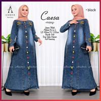 Gamis Jeans Dewasa Dress Denim Full Kancing Depan Baju Muslim Busui - Hitam