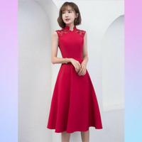 Midi Dress A-Line Cheongsam Tanpa Lengan - Custom Dress Pesta Dewasa