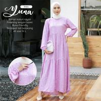 Gamis Wanita Motif Yuna Dress Termurah Bahan Katun Rayon Premium Adem