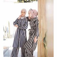 one set ayline stripe tunik set rayon premium