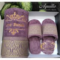 Luxury GIFT SET - Towel Single Custom Bordir AQUILLA+Slippers + BOX