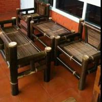 kursi set bambu hitam