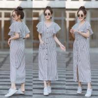 Dress Wanita Korea Salur Trend Midi Dres Fashion Stripe Twiscone - Navy