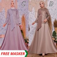 Gamis Wanita Selendang Dress Pesta Muslim Sateen Mix Tulle Bordir