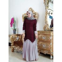 Meyra Dress - Baju Gamis Sar I Jersey Lemon Skin Kombinasi Rempel