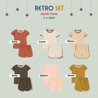[Brown] Baju setelan Anak Laki laki Perempuan Retro 0-8TH Cotton 30s - XXL