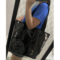 Tas wanita-Tote bag hitam transparan classy dan elegant bahan TPU