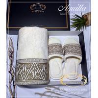 Luxury GIFT SET - Towel Single AQUILLA + Slippers + BOX ( Premium ) - Biru