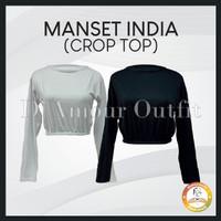 Manset India, Manset India Bahan Rayon Super, Lengan Panjang, Crop Top