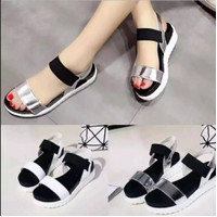CK.ID sepatu sandal fashion wanita tali karet Docmart 37-40 - Silver, 37